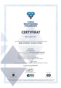Certyfikat   Firma Wiarygodna Finansowo   Program BIG i BIK   HMI Szczecin