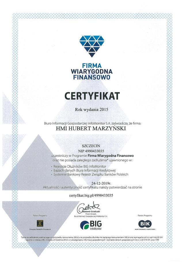 Certyfikat | Firma Wiarygodna Finansowo | Program BIG i BIK | HMI Szczecin