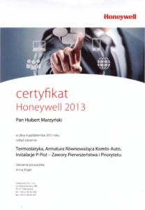 Certyfikat HONEYWELL   HMI Szczecin