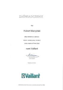 Certyfikat VAILLANT - zaświadczenie   HMI Szczecin