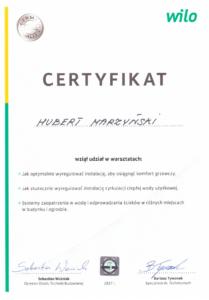 Certyfikat WILO   HMI Szczecin