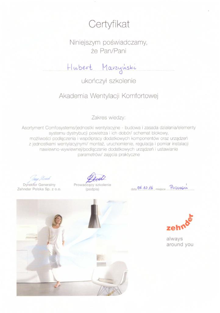 Certyfikat ZEHNDER   Wentylacja komfortowa