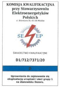 Grupa 1D   Świadectwo Kwalifikacji   urządzenia elektryczne do 1kV