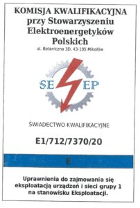 Grupa 1E   Świadectwo Kwalifikacji   urządzenia elektryczne do 1kV