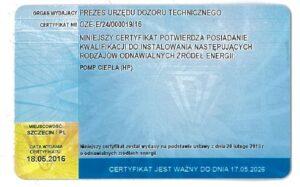 Certyfikat Urzędu Dozoru Technicznego   instalator pomp ciepła   HMI Szczecin